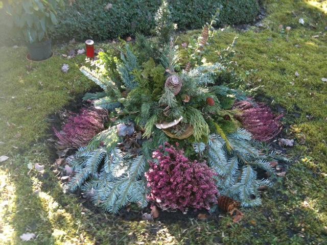 One of the decorative bough arrangements.