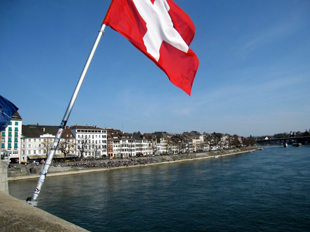 Basel's shuttered homes along the Rhine River.