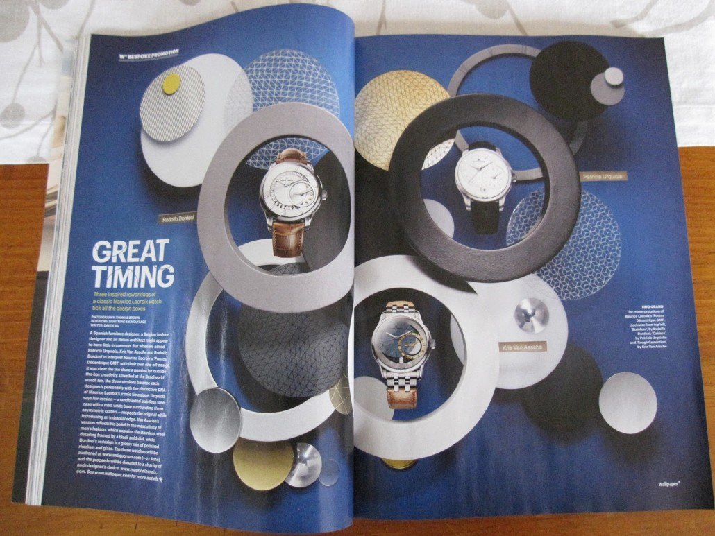 The spread in Wallpaper* debuting the watches.