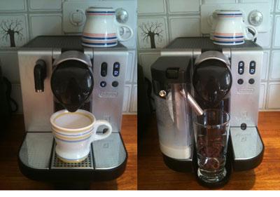 Ready to make an espresso or latte macchiato.